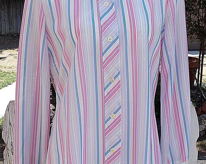 Vintage 70's Bodin Knits Preppy Secretary Blue Pink White Striped Women's Long Sleeve Blouse Shirt Top
