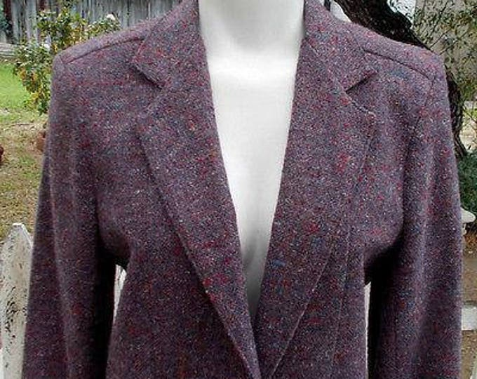 Vintage 90s Classic David Craig Sportswear Lavender Purple Wool Blend Womens Tweed Blazer Jacket Size 10