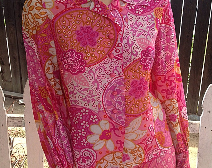 Vintage 70's Mod Hippie Pink Orange White Floral Paisley Psychedelic Handmade Women's Long Sleeve Blouse Skirt Coordinated Dress Set