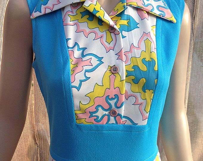 Vintage 70's Blue White Pink Yellow Geometric Mod Polyester Women's Hostess Dress