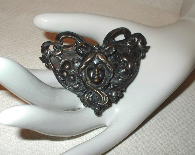 Vintage Handmade 20's Art Deco Lady With Flowers Buckle Art Nouveau Large Silver Brass Belt Buckle