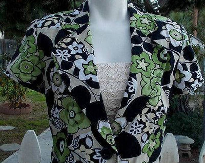 Vintage 90's T. Milano Green Floral Leaf Casual Cotton Short Sleeves Blazer Jacket