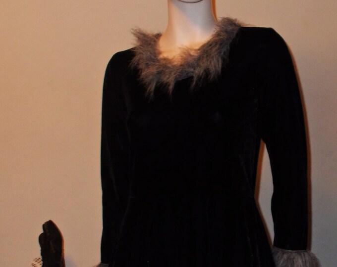 Vintage 90s Black Cat Kitty Kitten Halloween Costume Velvet Velour Womens Long Sleeve Mini Dress Tail Cat Ears Headband