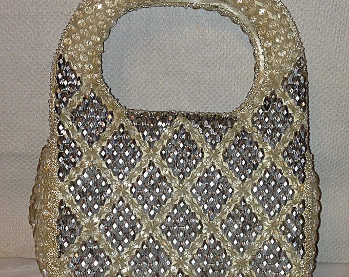Vintage 50's Hollywood Shaggee California Silver Beaded Cocktail Evening Special Occasion Clutch Handbag Purse