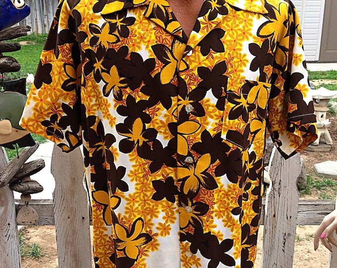 60's Aloha Tiki Floral Barkcloth Men's Hawaiian Shirt