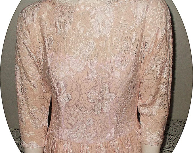 Vintage 80s Special Occasion Pink Cotton Floral Lace Party Prom Rockabilly Womens Below The Knee Dress