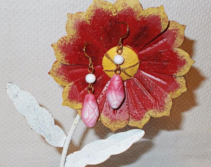 Handmade Old Glass Pink White Czech Bead Boho Hippie Chic Teardrop Earrings