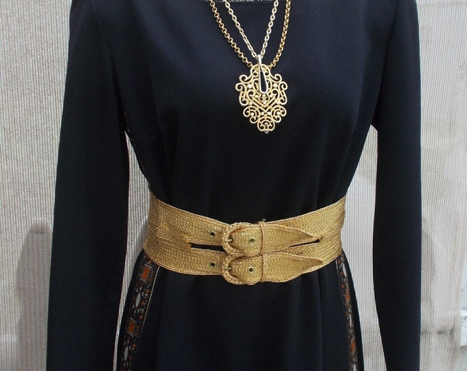 Vintage 70s Handmade Black Polyester Maxi Dress Gold Metallic Ribbon Accents