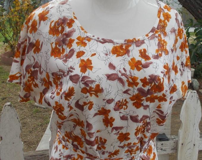 Vintage Handmade 50's Rockabilly Brown Orange White Floral Plus Size Below The Knee Shift Dress & Belt
