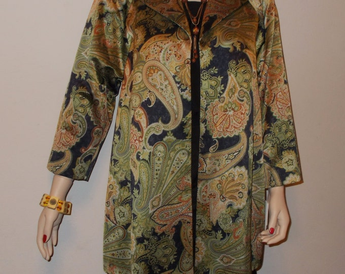 Vintage 90s Deadstock Doncaster Green Paisley Cocktail Evening Above The Knee Coat Jacket
