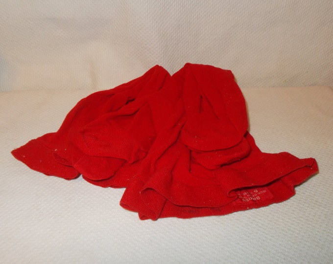 Pair Of Used Vintage 70s Doll Infant Baby Trimfit & Babies Red 100% Nylon Stretch Leggings Leg Warmers Tights Size 6 - 18 Months