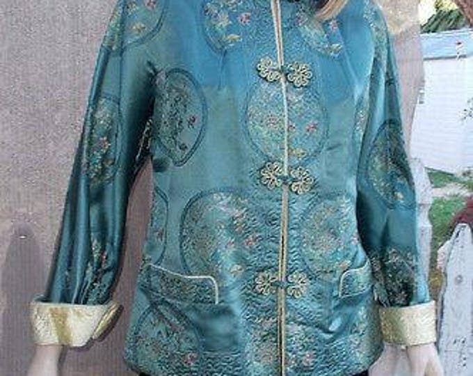 Vintage Handmade 60's Asian Oriental Green Yellow Quilted Silk Embroidered Floral Women's Evening Cocktail Jacket Coat