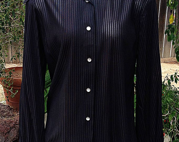 Vintage 70's Mod Cowgirl Western H Bar C Ranchwear Black Sheer Nylon Women's Long Sleeve Striped Shirt