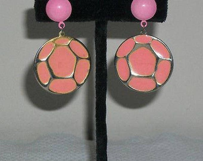 Vintage 60's 70's Pink Silver Boho Hippie Chic Round Geometric Atomic Space-age Drop Dangle Earrings