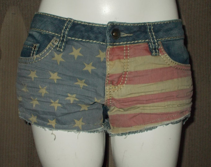Vintage 90s YMI Red White Blue American Flag Distressed Blue Jean Denim Cut Off Shorts