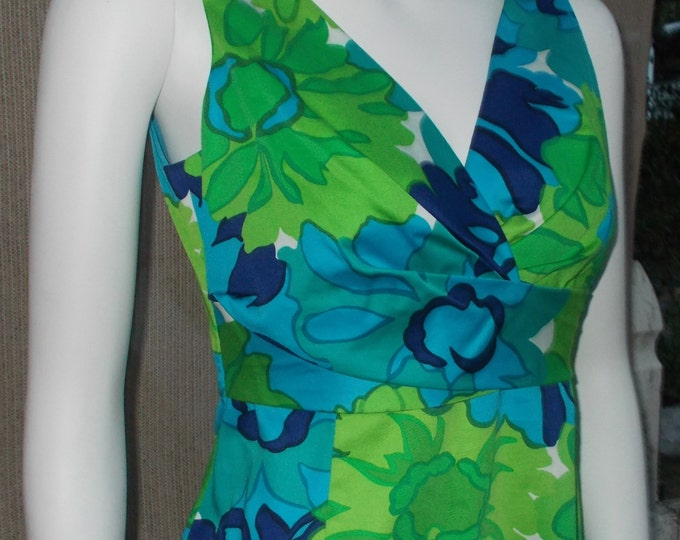Vintage 90's Donna Ricco New York V-Neckline Blue Green Floral Leaf Women's Sleeveless Dress
