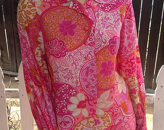 Vintage 70's Mod Hippie Pink Orange White Floral Paisley Psychedelic Blouse Skirt Dress Set