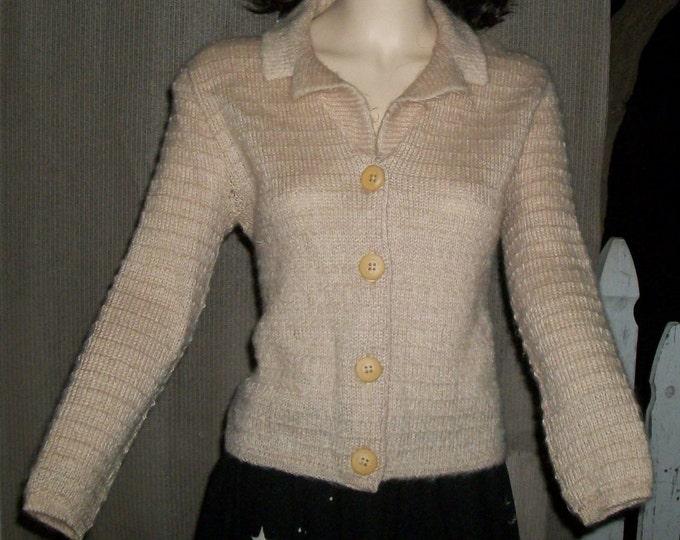 Vintage 60's Jane Irwill Bombshell Pinup Rockabilly Beige Knitted Wool Women's Cardigan Sweater