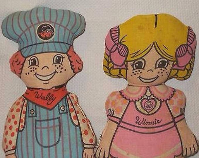 Vintage Winnie Waitress & Wally Train Conductor Pillows