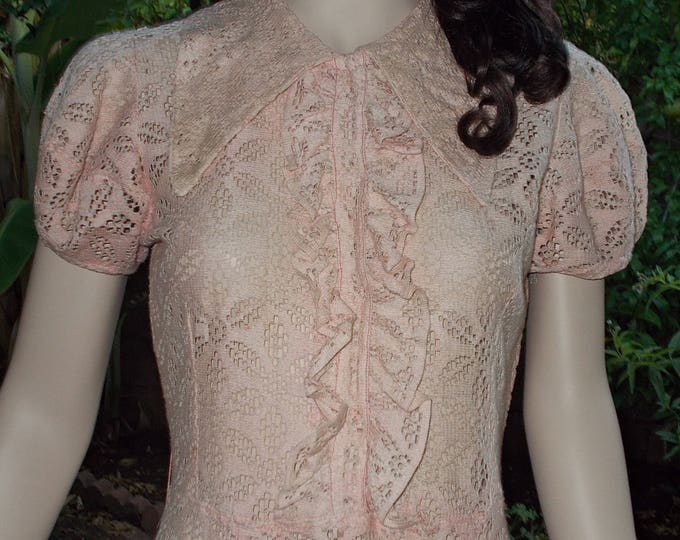 Vintage Handmade 30's Art Deco Dress Great Gatsby Pink Floral Cotton Lace Short Sleeve Floor Length Day Dress
