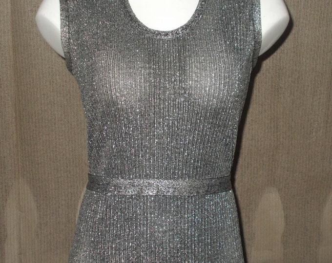 Vintage 70's Disco Mod Eve Le Cog California Evening Black Silver Metallic Knit Women's Sleeveless Floor Length Dress Long Sleeve Jacket