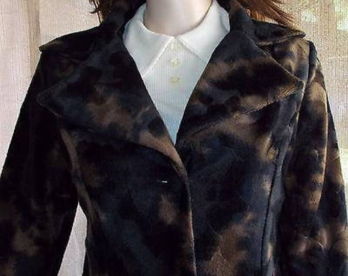 Vintage 90's Boho Hippie Chic Plush Faux Fur Black Bronze Brown Camouflage Women's Coat Jacket