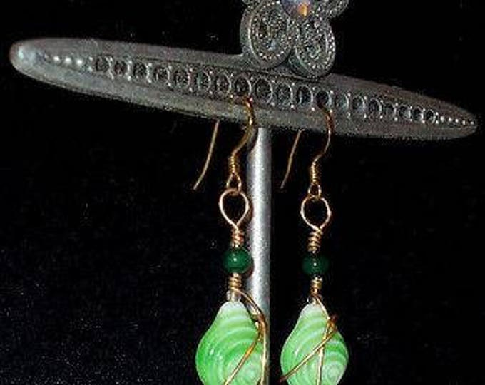Vintage 90s Boho Hippie Chic Wire Wrap Green White Fish Glass Beads Drop Dangle Stainless Steel Earrings