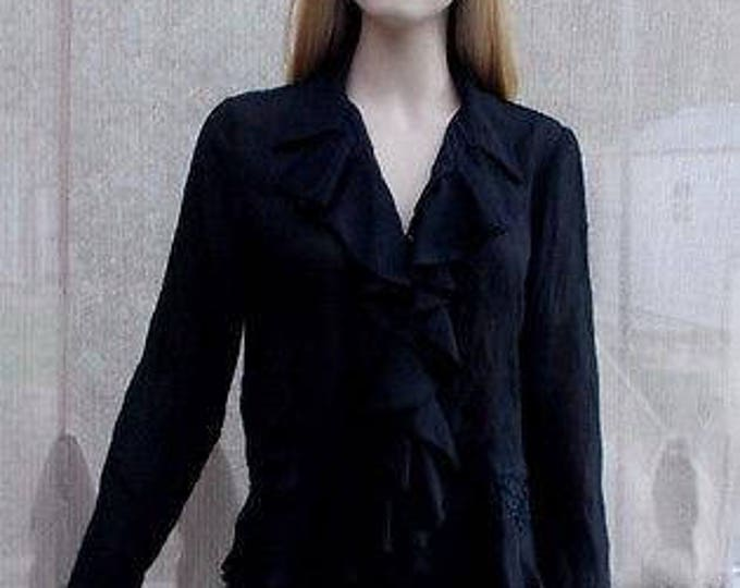 Vintage 90's Allison Taylor Evening Goth Black Polyester Women's Ruffled V-Neckline Long Sleeve Blouse Shirt Top