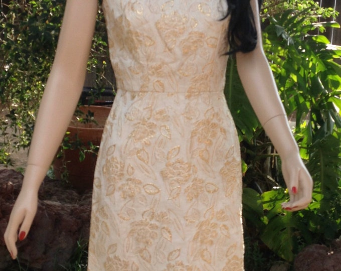 Vintage 50's Pinup Wiggle Dress Ivory Gold Embossed Floral Above The Knee Sleeveless Dress