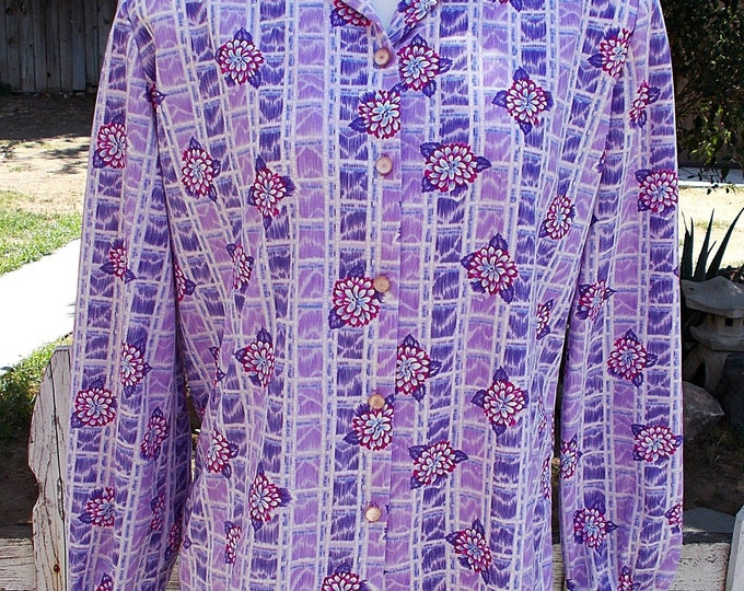 Vintage 70's MOD Preppy Graff Californiawear Purple Pink Striped Floral Blouse Shirt