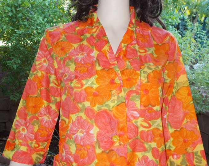 Vintage 60s Orange Psychedelic Floral Dressing Gown Rockabilly Housecoat Womens Above The Knee Shift Dress