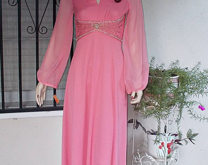Deadstock Vintage 70s Pink Polyester Handmade Womens Long Sleeve Full Length Maxi Hostess Dress
