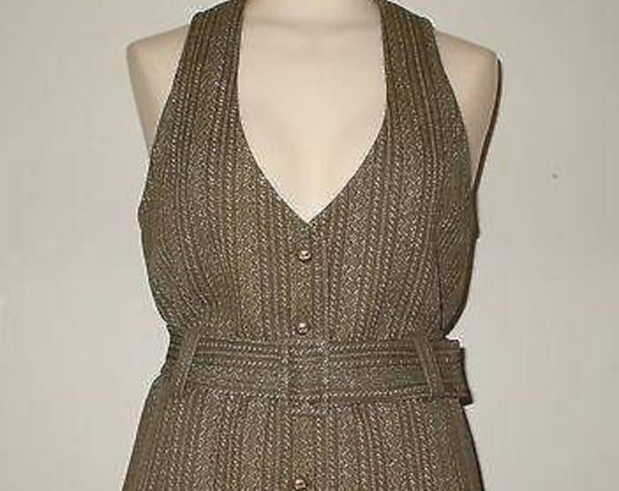 Vintage 70's  MOD Disco Collegian of California Brown White Stripe Polyester Preppy Secretary Belt Vest Skirt Set