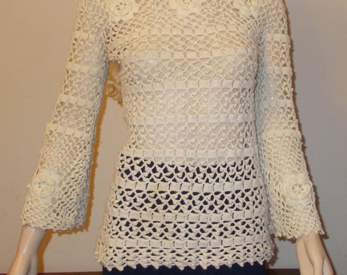 Vintage 70's Boho Hippie Chic Leroy Knitwear Cream Off White Floral Pullover Sweater Top