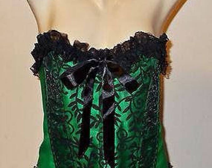 Vintage 90's Goth Steampunk Sexy Vaacodor Bustier Black Green Lace Satin Ribbon Women's Lace-up Corset