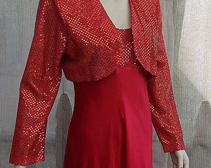 Vintage 90's Fiesta Red Metallic Polyester Special Occasion Party Prom Full Length Dress & Bolero Jacket