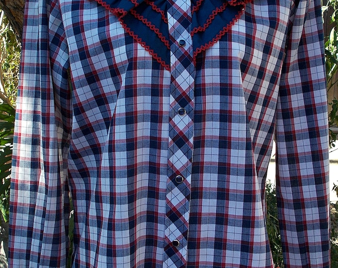 Vintage 80's Kenny Rogers Western Collection by Karman Red White Blue Plaid Ruffled Women's Long Sleeve Snap Shirt
