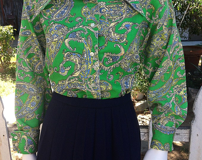 Vintage 70s Mod Hippie Sears Green Blue Paisley Polyester Womens Long Sleeve Blouse Shirt Top