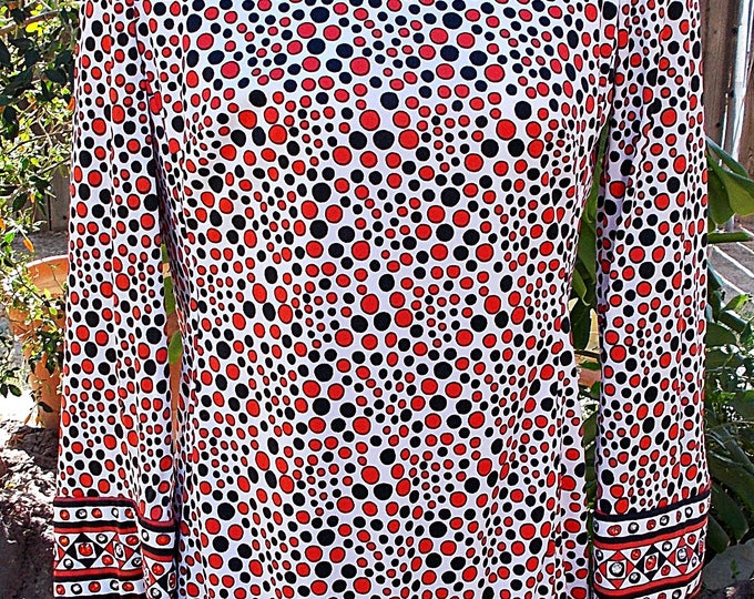 Vintage 60's Jeremy by Alan Phillips Black Red White Psychedelic Circles Rhinestone Embellished Space-Age Go-Go Mini Dress