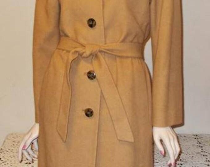 Vintage 60s 100% Camel Hair Women's Beige Light Brown Long Sleeve Coat & Belt.