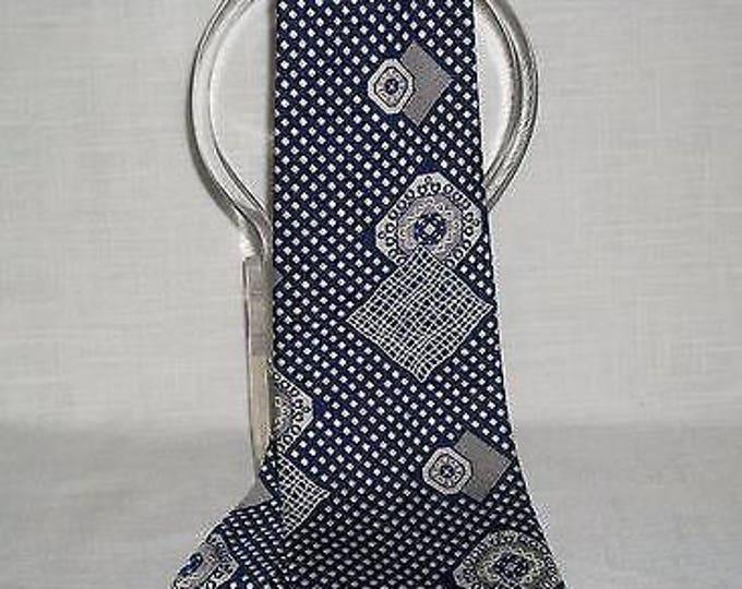 Vintage 70s Mens Gentleman Blue White  Geometric Short Wide Necktie Neck Tie