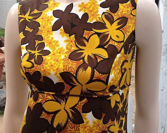 1960s Hawaiian Tiki Brown Yellow Floral Barkcloth Sleeveless Maxi Dress