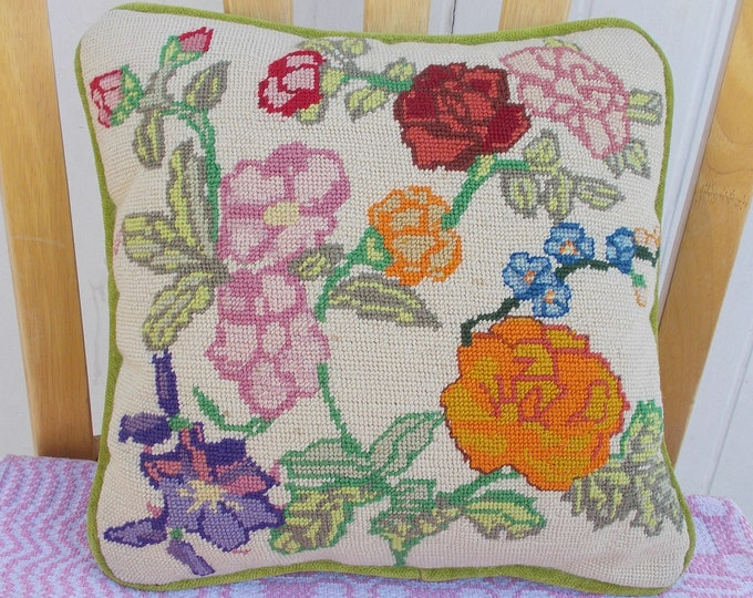 Vintage Handmade 50's Green Pink Orange Floral Leaf Wool Velour Needlepoint Plush Soft Home Decor Square Pillow