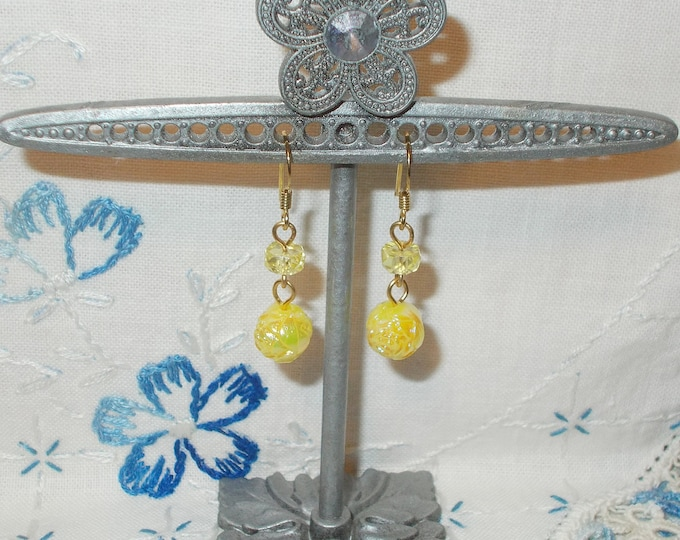 Boho Hippie Chic Yellow Old Glass Round Bead Floral Flower Tube Plastic Handmade Drop Dangle Stainless Steel Earrings