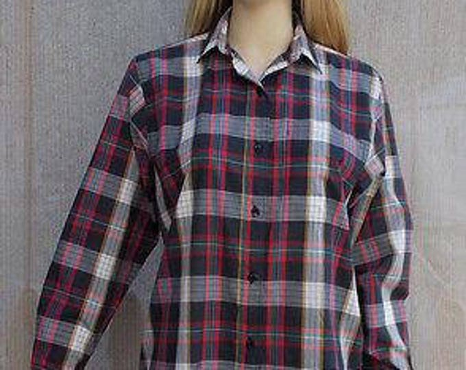 Vintage 80's Preppy School Girl Diane Von Furstenberg Red White Blue Plaid Women's Long Sleeve Blouse Shirt Top