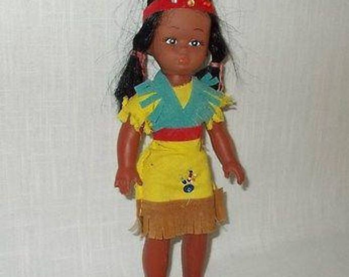 Vintage 60's 70's Soft Plastic Vinyl Souvenir Indian Doll Toy