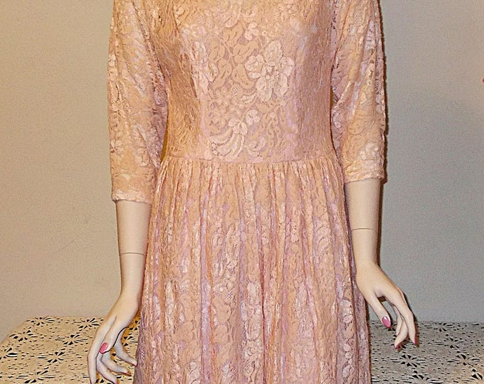 Vintage Handmade 80's Special Occasion Pink Cotton Floral Lace Party Prom Below The Knee Mother Of The Bride Dress