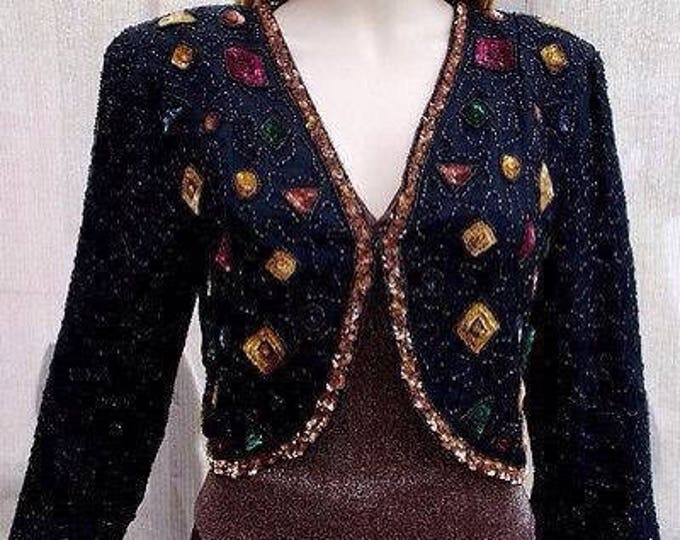 Vintage 80s 90s Black Bronze Red Special Occasion Hand Beaded Sequin Silk Geometric Womens Long Sleeve Bolero Jacket