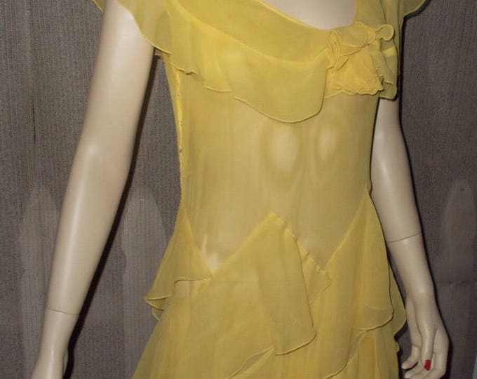 Vintage 30s Art Deco Flapper Yellow Sheer Chiffon Evening Party Womens Floor Length Dress