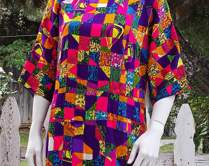Vintage 70s Hawaiian Tiki Hippie Chic Bright Floral Geometric Psychedelic Handmade Womens Full Length Maxi Summer Dress